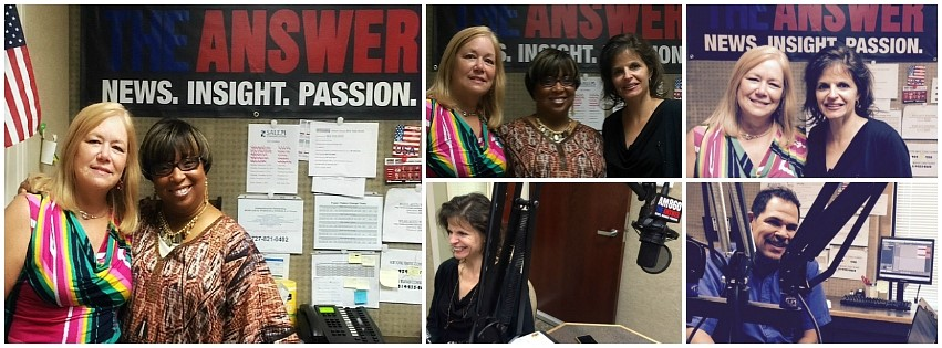 Pictured: Millie Bucy, Phyllis Guthman, Julie Ames, SNFH, and Jose Cruz, On-Air Studio Engineer