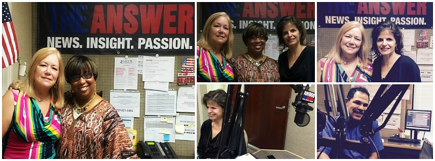 Pictured: Millie Bucy, Phyllis Guthman, Julie Ames, SNFH, and Jose Cruz, On-Air Studio Engineer